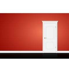 Closed white door on red wall vector
