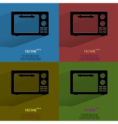 Color set microwave kitchen equipment flat modern vector