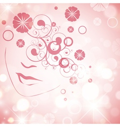 Woman face with floral decoration vector