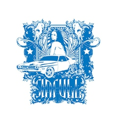 Sexy pin up girl with car vector
