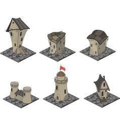 A video game objects medieval building set vector