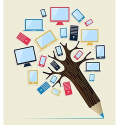 Gadget devices concept pencil tree vector