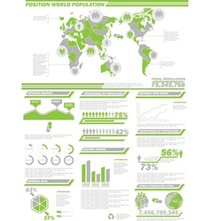 Infographic demographics population 2 green vector