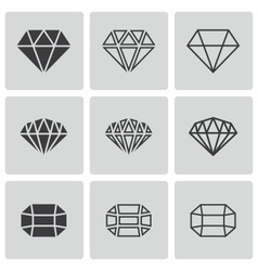 Black diamond icons set vector