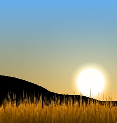 Sunrise with sun mountain and grass field vector