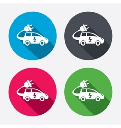 Electric car sign icon hatchback symbol vector