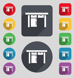 Table icon sign a set of 12 colored buttons and a vector