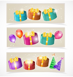 Banners with gift boxes and balloons vector