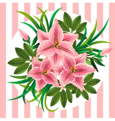 Retro bouquet with lilies buds and leaves vector