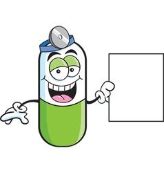 Cartoon pill capsule with a sign vector
