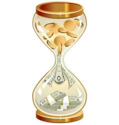 Time is money hourglass coins and notes vector