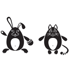 Cat and a rabbit vector