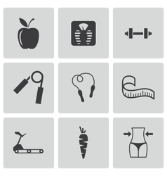 Black diet icons set vector