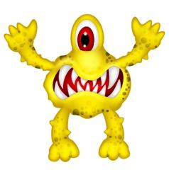 Yellow monster cartoon vector
