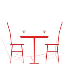 Chair and table with wine on it vector