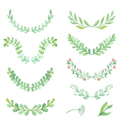 Watercolor painted laurels set floral wreaths and vector