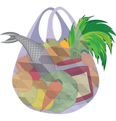 Plastic transparent shopping bag full of fruits vector