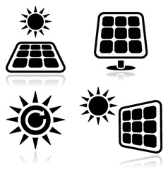 Solar panels icons vector