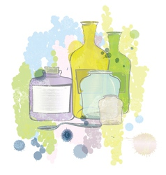 Water color jars and bottles vector