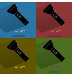 Color set flashlight  flat modern web button with vector
