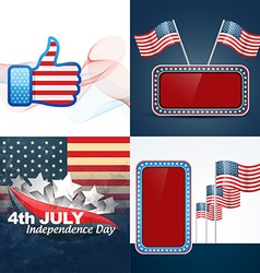 Set of american independence day flag design vector