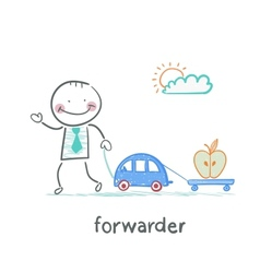 Forwarder drives a car with a trailer which is an vector