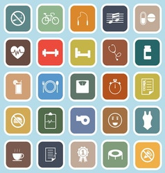 Wellness flat icons on blue background vector