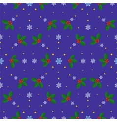 Holly berries and snowflakes vector