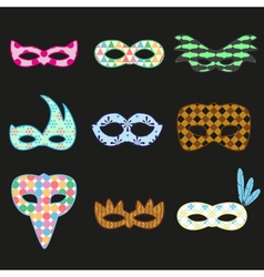 Carnival rio colorful pattern masks design icons vector