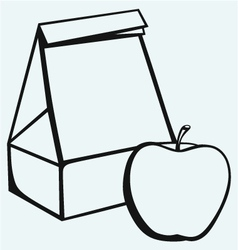 Paper bag and apple vector