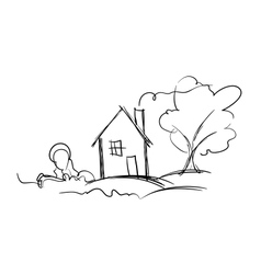 Black and white sketch of village house and tree vector