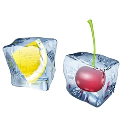 Ice cubes with cherry and slice of lemon vector