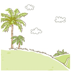Coconut tree green landscape vector
