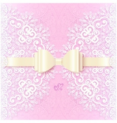 Vintage wedding card template with white bow vector