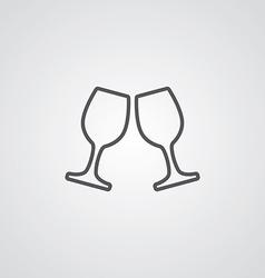 Wineglasses outline symbol dark on white vector
