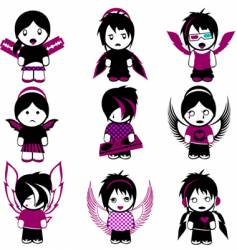 Emo angels vector