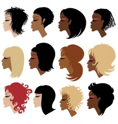 Trendy hair styling for woman vector