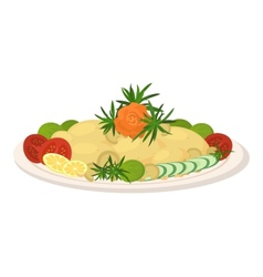 Meal on dish roast vegetables vector