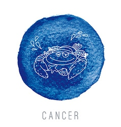 Watercolor of the crab cancer vector