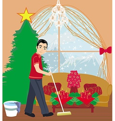 Young man cleaning house before christmas vector