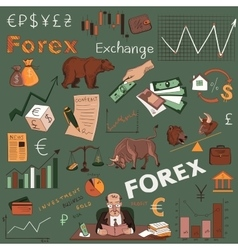 Colored finance forex hand drawing vector