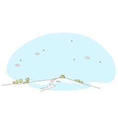 Path over mountain and sky vector