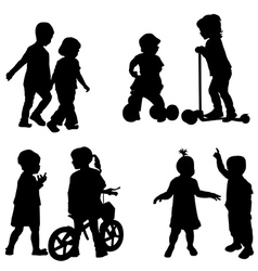 Couples of children silhouette vector
