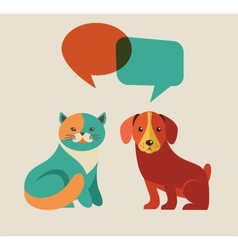 Collection of cat and dog with speach bubbles vector