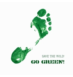 Green foot imprint vector