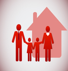 Happy family and a house vector