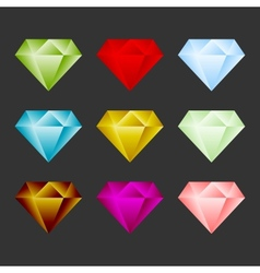Gem icon set game resource or emblem vector