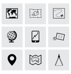 Black map icons set vector