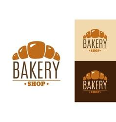 Croissant bakery emblem or logo vector