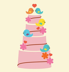 Lovely birds with wedding cake vector